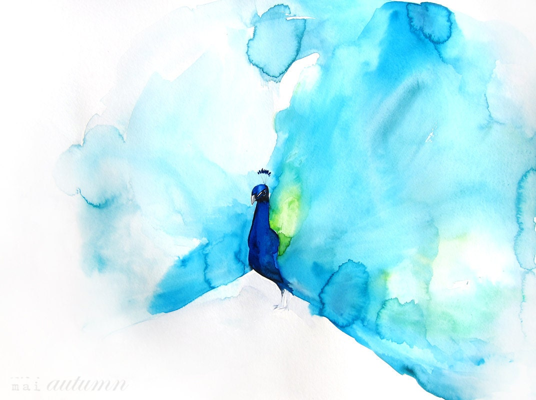 60  off sale watercolor painting peacock art bird by maiautumn