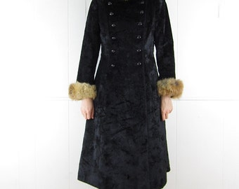 Vintage 60's BEST Russian Princess Coat Genuine Fur Trim Hood S