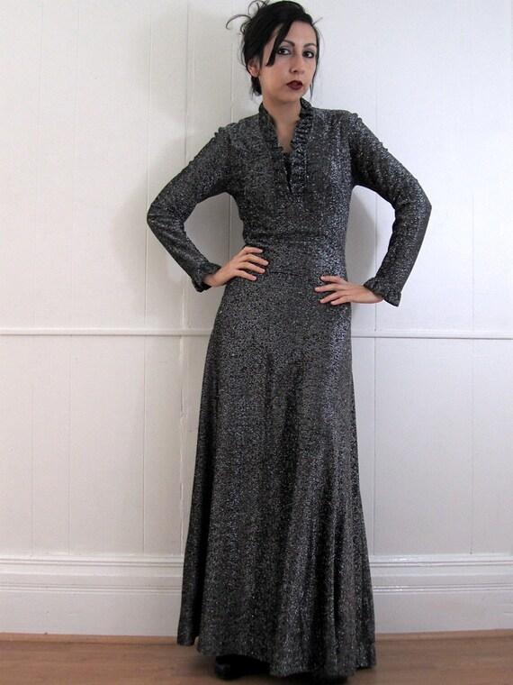 Vintage 60's Ruffled Collar Metallic Sparkle Glam Empire Maxi Dress S