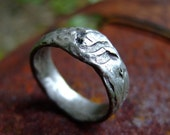 Men's nature textured wedding silver band: Marks of Time