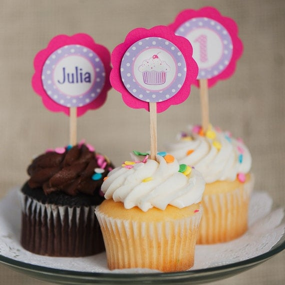 Party Decorations - Cupcake Theme Cupcake Toppers - Happy Birthday Party Decorations in Hot Pink and Purple