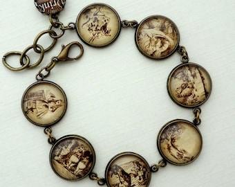 The Story of Alice in Wonderland Bracelet. Gift for her under 30 usd