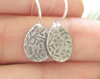 Silver Flower Earrings - Flower Pattern Silver Earrings - Fine Silver and Sterling Silver Dangle Earrings