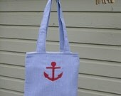 SALE //Tote Bag // Cotton Seersucker // Blue // Anchor // Nautical
