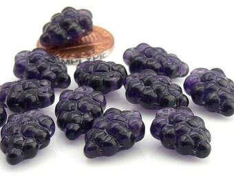Grape Bunch, Tanzanite Czech Glass Beads, 16mm, 12