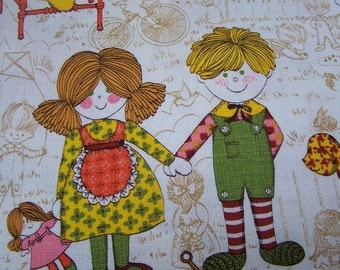 Fabric 1 yard plus 34 inches long Juvenile Novelty Bark cloth child VINTAGE by Plantdreaming