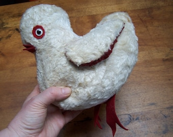 Stuffed Chick toy large Chicken Easter plush 1940s VINTAGE by Plantdreaming