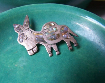 Taxco Patino Sterling Silver Abalone Donkey Brooch Mexico Eagle stamp