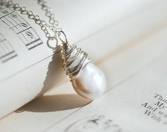 Bride Necklace Gift - Bride Gift - Bridal Shower Gift - Bridesmaid Gift Ideas - Dainty Pearl Necklace - Freshwater Pearl Necklace