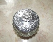Round Houbigant Face Cream Jar with Rhinestones on Top///Sale