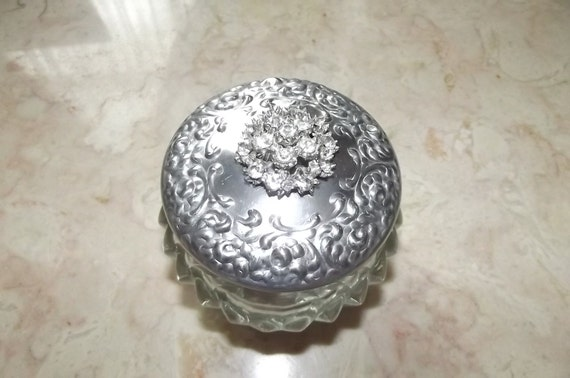 Round Houbigant Face Cream Jar with Rhinestones on Top///Sale
