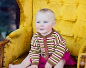 Hand Knit Baby Sweater, Unisex -- Childrens Clothing -- QUINCY STREET -- Striped Brown, Red, Green, Yellow, White Cardigan