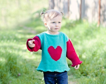 Baby Girl Sweater, Hand Knit -- INDEPENDENCE AVENUE -- Turquoise and Red Heart Sweater -- Great for Baby Showers