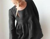 Bow Window fine linen blouse - Dark Night