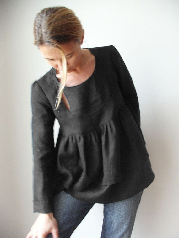 Bow Window fine linen blouse - Dark Night