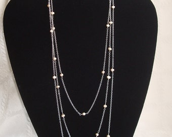 Three tier wire wrapped peach fresh water pearl sterling silver necklace --Thin and delicate 3 tier necklace