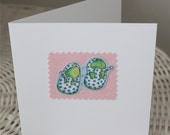 New baby welcome card  - little baby shoes with stars
