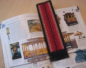 Cross Stitched Bookmark in Red and Black Handmade
