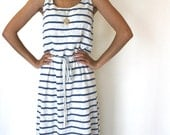 SALE - Striped Maxi Dress in Cotton Knit, Jersey, Drawstring Waist, Nautical, Beach, Preppy, Summer Womens Dress - SOPHIA