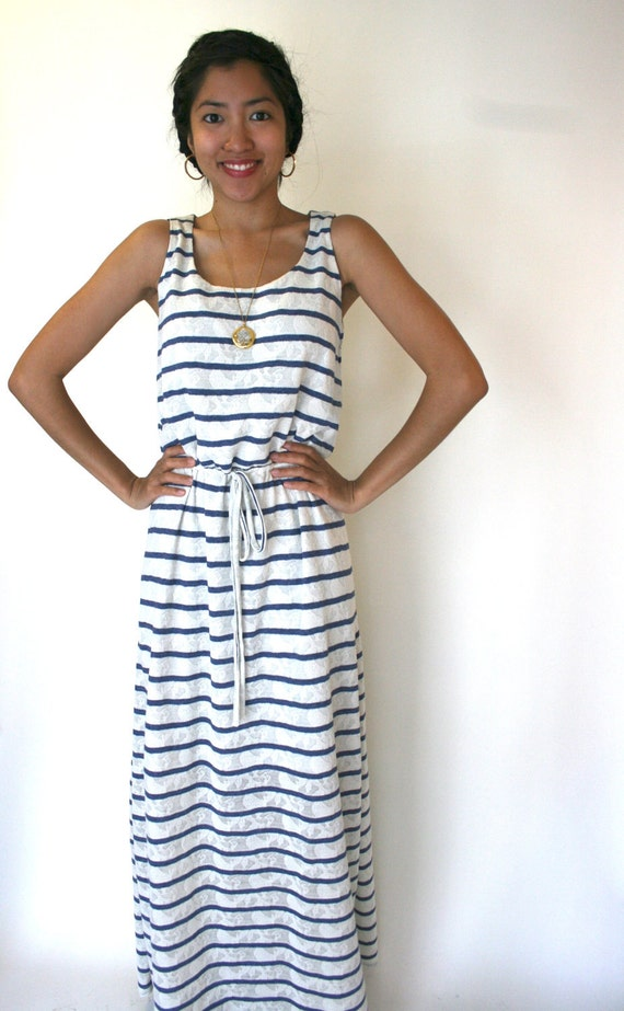SALE - Striped Maxi Dress in Cotton Knit, Jersey, Drawstring Waist, Nautical, Beach, Preppy, Summer Womens Dress - SOPHIA