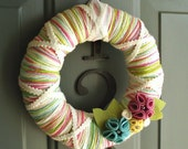 Yarn Wreath Felt Handmade Door Decoration - Candy Mix 8in