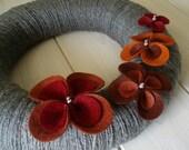 Yarn Wreath Felt Handmade Door Decoration - Pretty Petals 12in