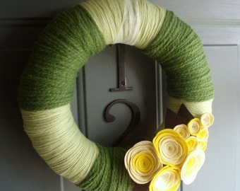 Yarn Wreath Handmade Front Door Spring/Summer - Sunshine 12in