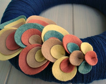 Yarn Wreath Felt Handmade Door Decoration - Wave of Dots 12in