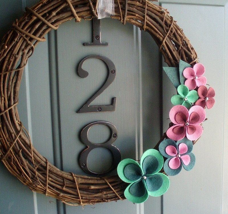Handmade Decoration For Wall : Grapevine wreath felt handmade door wall decoration spring