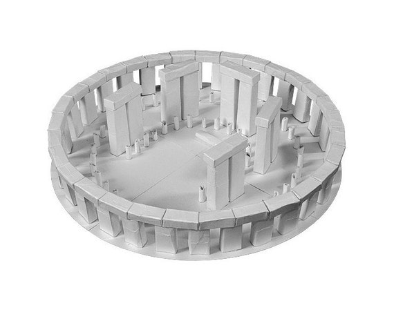 Stonehenge, a druid circle paper model || white or silver metallic color || 13 inches = 34 cm in diameter