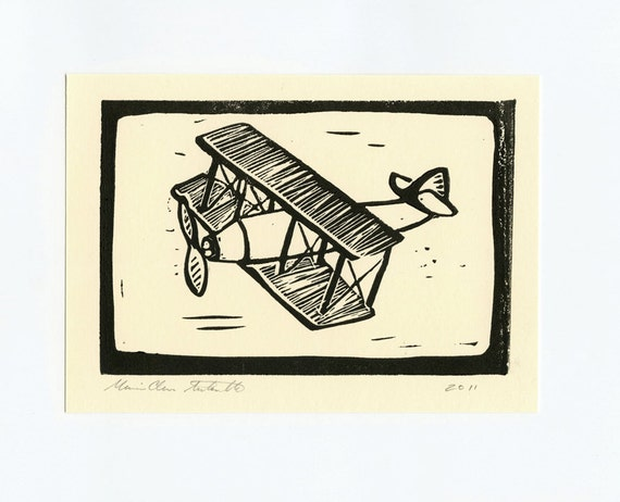Lincocut of Biplane - Airplane Art - Handcarved linocut print sized  5x7