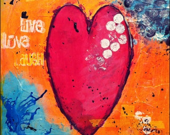 "Original Mixed Media on 8x8 Canvas - Painting Home Decor Artwork - Folk Art - ""One Big Heart"""
