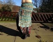 Tribal Fusion Skirt Belt, Crochet Green Cowrie shell, yarn fringe wool, Belly Dance, ATS