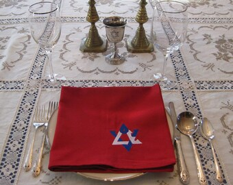Package of four 20-inch red napkins embroidered with LOVE Star of David