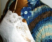 Hand Knit Shrug -Denim blue and Brown accented with tattered flowers by AngelAndFairyDesigns on Etsy