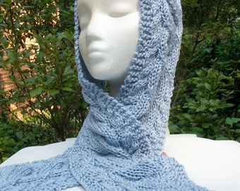 Triple Cable Twist Scarf/Head Wrap/purple,silver lavender,periwinkle shimmer yarn
