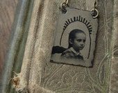 Altered Victorian Gem Tintype Necklace - Little Delphine