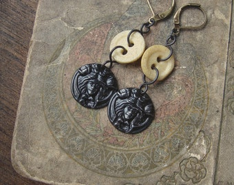 Bounteous Beauty - Art Nouveau Bone Button Earrings