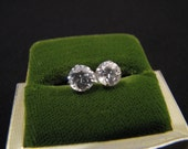 Vintage 14k White Gold Cubic Zirconia Solitaire Diamond Stud Post Pierced Earrings