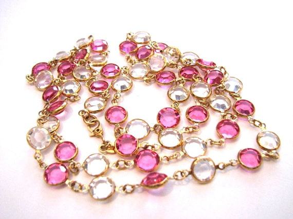 Vintage Monet Gold Plated and Clear Pink Faceted Glass Swarovski Crystal Bezel Set Open Back Necklace