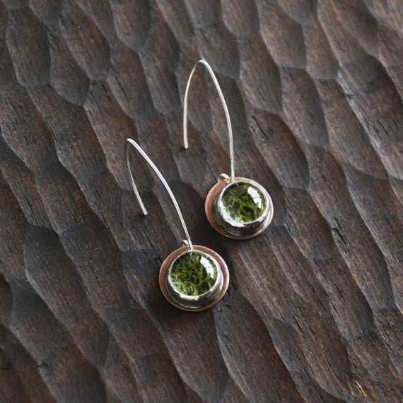 Cascading Copper and Sterling Terrarium Moss Earrings