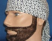 Do Rag White Leopard Mini Print Animal Skin Print Biker Head Wrap, Do Rag, Skullcap, Helmet Liner