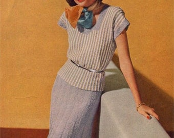 Vintage Knitting Patterns Sweater Skirt 1940s PDF