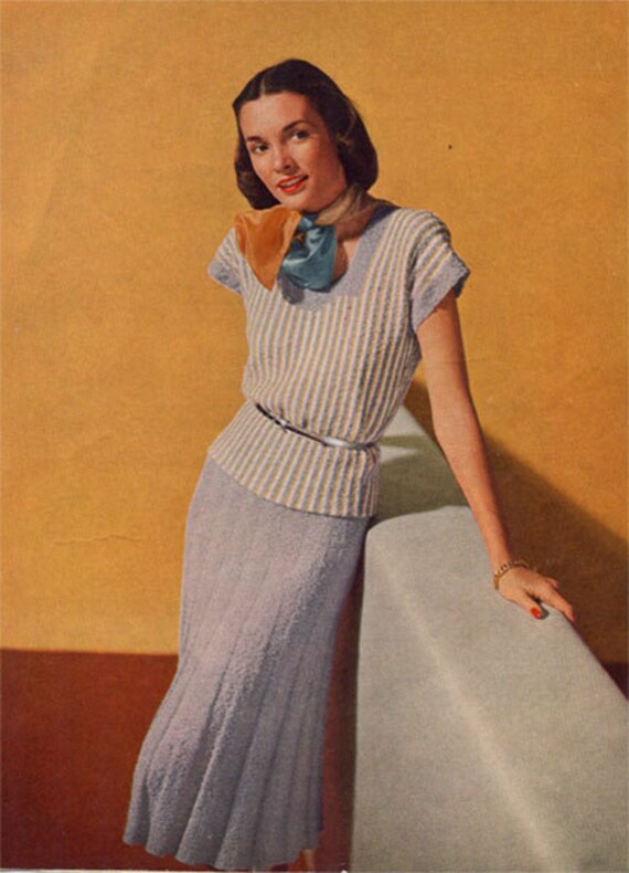 Vintage Knitting Patterns Sweater Skirt 1940s PDF