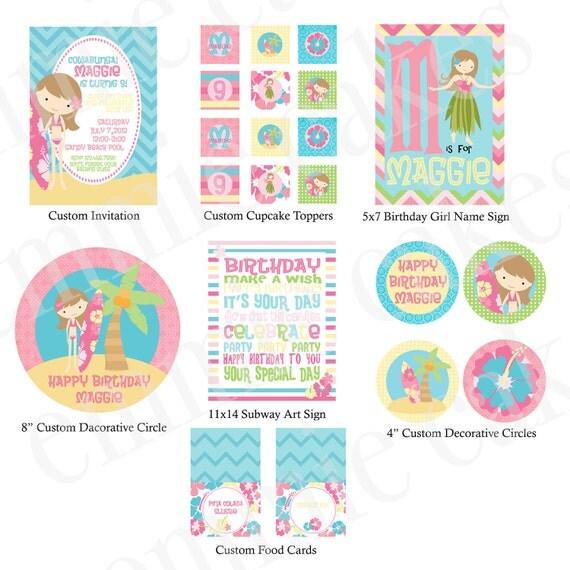 Surf Girl Party Printable Kit, Custom