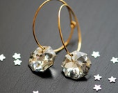 Starry night earrings . Gold filled, clear crystal earrings