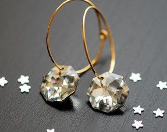 Starry night earrings . Gold filled, clear crystal earrings