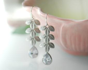 Silver leaf earrings, long silver earrings, Bridal jewelry, crystal silver earrings, silver dangle earrings, teardrop crystal earrings, Ivy