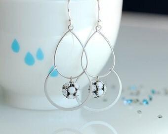 White earrings, White silver earrings, White dangle earrings, White hoop earrings, Long dangle earrings, Opaque White, Snow white earrings