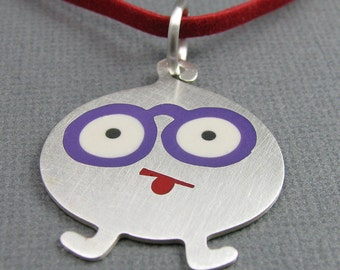 solid sterling silver monster pendant. eyeglasses character pendant. goofy monster pendant. silver monster with glasses pendant.